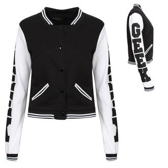 View Item Black GEEK Baseball Jacket